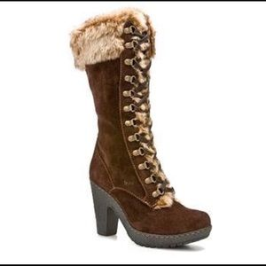 Boc Erwin Brown Fur Lace Up Heel Boots Suede Sz 7
